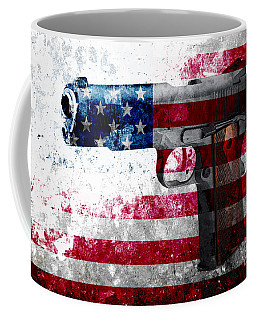 M1911 Colt 45 And American Flag On Distressed Metal Sheet Coffee Mug