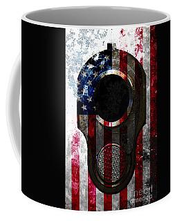 M1911 Colt 45 Muzzle And American Flag On Distressed Metal Sheet Coffee Mug