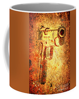 M1911 Muzzle On Rusted Background 3/4 View Coffee Mug