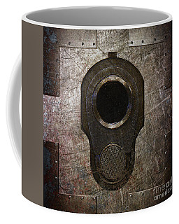 M1911 Muzzle On Rusted Riveted Metal Dark Coffee Mug