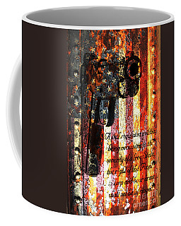 M1911 Pistol And Second Amendment On Rusted American Flag Coffee Mug