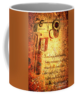 M1911 Pistol And Second Amendment On Rusted Overlay Coffee Mug