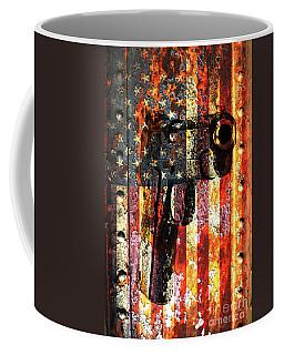 M1911 Silhouette On Rusted American Flag Coffee Mug by M L C