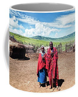 Coffee Mug featuring the photograph Maasai Father And Daughter - Ngorongoro No4198fv1 by Amyn Nasser