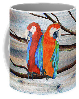 Macaw Parrots Rustic Background Coffee Mug