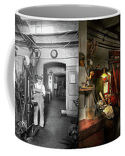 Coffee Mug featuring the photograph Machinist - Government Approved 1919 - Side By Side by Mike Savad