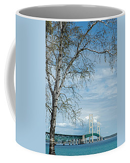 Coffee Mug featuring the photograph Mackinac Bridge Birch by LeeAnn McLaneGoetz McLaneGoetzStudioLLCcom
