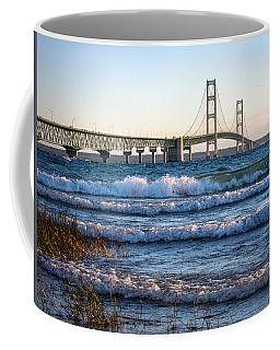 Coffee Mug featuring the photograph Mackinac Bridge Michigan by Mary Lee Dereske