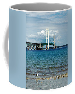 Coffee Mug featuring the photograph Mackinac Bridge With Seagull by LeeAnn McLaneGoetz McLaneGoetzStudioLLCcom