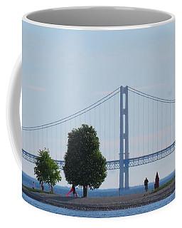 Mackinac Island Panorama With The Mighty Mac Coffee Mug