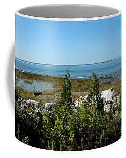 Coffee Mug featuring the photograph Mackinac Island View Of Bridge by LeeAnn McLaneGoetz McLaneGoetzStudioLLCcom