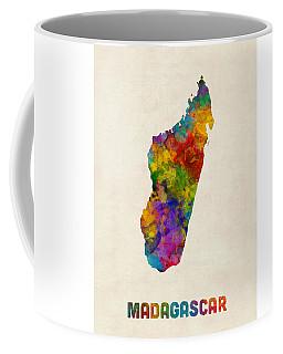 Coffee Mug featuring the digital art Madagascar Watercolor Map by Michael Tompsett