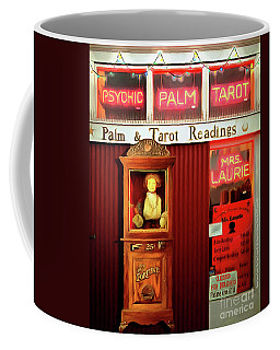 Coffee Mug featuring the photograph Madame Lauries Psychic Palm Tarot Fortune Be Told Closed For Holiday Please Use Atm Circa 2016 V2 by Wingsdomain Art and Photography