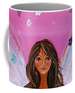 Coffee Mug featuring the painting Pink Angel Of Life by Pristine Cartera Turkus