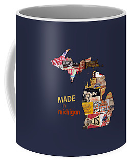 Made In Michigan Products Vintage Map On Wood Coffee Mug
