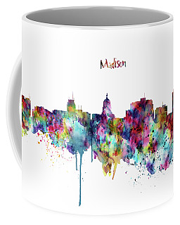 Coffee Mug featuring the mixed media Madison Skyline Silhouette by Marian Voicu