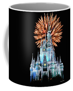 Magic Kingdom Castle In Frosty Light Blue With Fireworks 02 Mp Coffee Mug