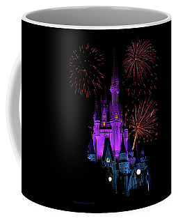 Magic Kingdom Castle In Purple With Fireworks 02 Pm Coffee Mug