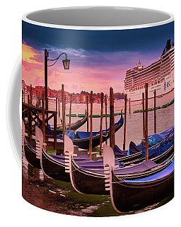 Gondolas And Cityscape At Sunset In Venice, Italy Coffee Mug