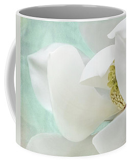 Magnolia Blossom, Soft Dreamy Romantic White Aqua Floral Coffee Mug