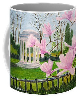 Coffee Mug featuring the painting Magnolia Blossoms At Wagner Park by Linda Feinberg