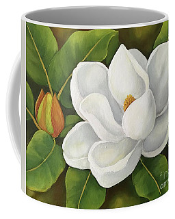 Coffee Mug featuring the painting Magnolia by Inese Poga