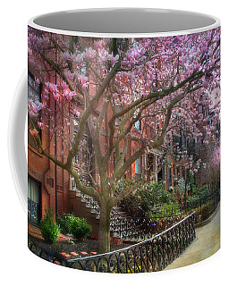 Coffee Mug featuring the photograph Magnolia Trees In Spring - Back Bay Boston by Joann Vitali