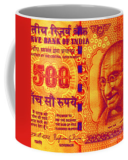 Coffee Mug featuring the digital art Mahatma Gandhi 500 Rupees Banknote by Jean luc Comperat