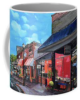Coffee Mug featuring the painting Main Street Ellijay - Mountain Treasures - On The Square by Jan Dappen