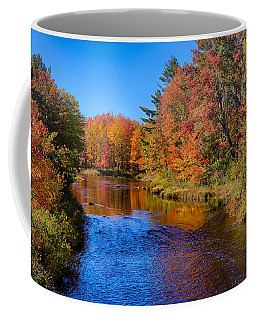 Coffee Mug featuring the photograph Maine Brook In Afternoon With Fall Color Reflection by Jeff Folger