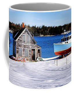 Coffee Mug featuring the photograph Maine Harbor Winter Scene by Olivier Le Queinec