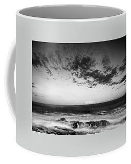 Maine Rocky Coast With Boulders And Clouds At Two Lights Park Coffee Mug