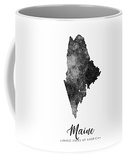 Maine State Map Art - Grunge Silhouette Coffee Mug