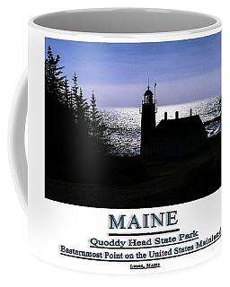 Maine West Quoddy Head Lighthouse Silhouetted Coffee Mug by Marty Saccone