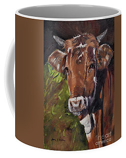 Coffee Mug featuring the painting Maisy The Cow- Brown Cow - Moo by Jan Dappen