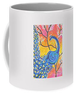 Majestic Peacock Colorful Textured Art Coffee Mug