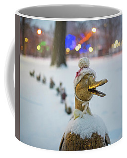 Make Way For Ducklings Winter Hats Boston Public Garden Christmas Coffee Mug