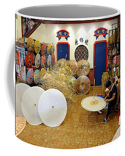 Coffee Mug featuring the photograph Making Chinese Paper Umbrellas by Yali Shi