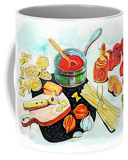 Coffee Mug featuring the drawing making Italian tomato's sauce by Ariadna De Raadt