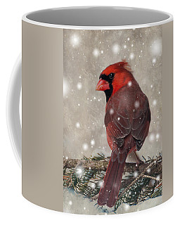 Male Cardinal In Snow #1 Coffee Mug