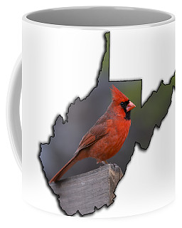 Male Cardinal Perched On Rail Coffee Mug