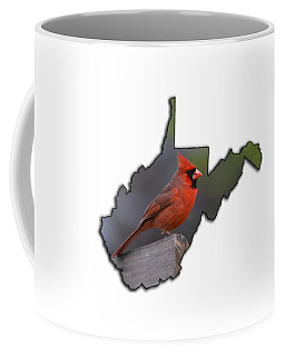 Male Cardinal Perched On Rail Coffee Mug
