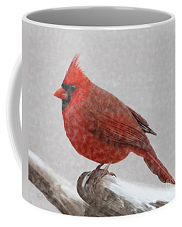 Male Cardinal In Snow Coffee Mug by Rand Herron