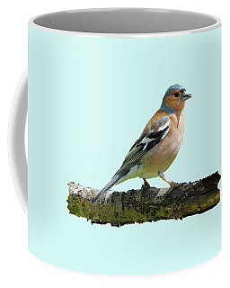Coffee Mug featuring the photograph Male Chaffinch, Blue Background by Paul Gulliver