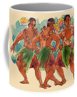Coffee Mug featuring the painting Male Dancers Of Lifuka, Tonga by Judith Kunzle