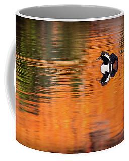 Male Hooded Merganser In Autumn Coffee Mug