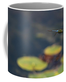 Malibu Blue Dragonfly Flying Over Lotus Pond Coffee Mug