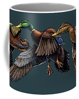 Mallard Ducks In Flight Coffee Mug