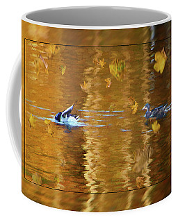 Coffee Mug featuring the painting Mallard Ducks On Magnolia Pond - Painted by Ericamaxine Price
