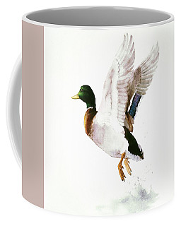Mallard Flying Away Watercolor Coffee Mug